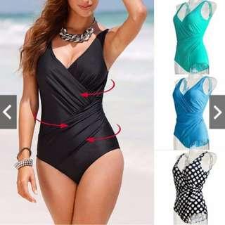 Plus Size Women's Vintage Monokini One Piece Retro Swimwear Bathing Suit Beach