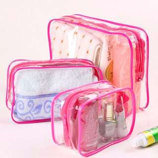 SPG0088 - (SALE) 3 Piece in 1 Cosmetic Makeup Toiletry Clear PVC Travel Wash Bag Holder Pouch Set Kit