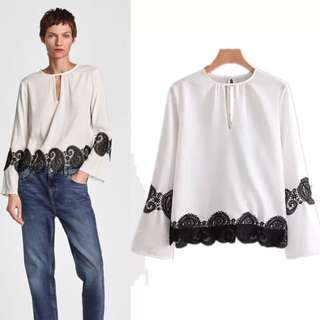 🌾Inspired Zara Blouse With Lace Flowing Blouse V Neck Opening🌾
