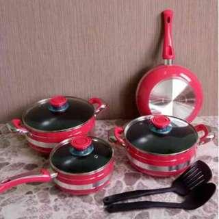 Panci Set Rose Pink 9 Pcs Cookware Set Bagus Anti Lengket
