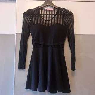 條紋拼接馬甲顯瘦洋裝