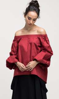 Ats The Label Red Sabrina Puffed Sleeves
