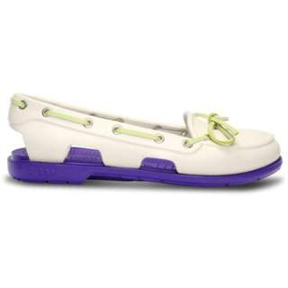 Crocs Womens Beach Line Boat Shoes Oyster Ultraviolet White Purple 100% Genuine