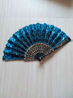 仿古藍色珠片扇子