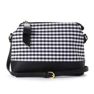 Japan Samantha Thavasa Colors By Jennifer Sky Gingham Check Series Shoulder Bag (Black)