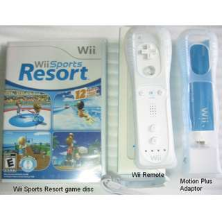 Wii Sports Resort game disc , Wii Remote and Wii Motion Plus Adaptor . unused