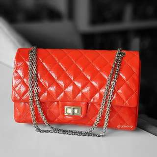Authentic Chanel Red Patent Leather Reissue WSH