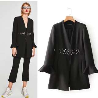 💃🏼Inspired Zara Frock Coat With Faux Pearls💃🏼