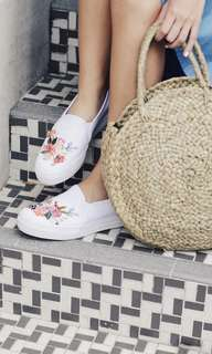 Keds Rifle Paper Co. slip on in white US8