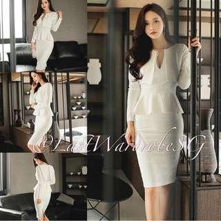 Korean Long Sleeve Elegant OL Pencil Dress (WHITE)