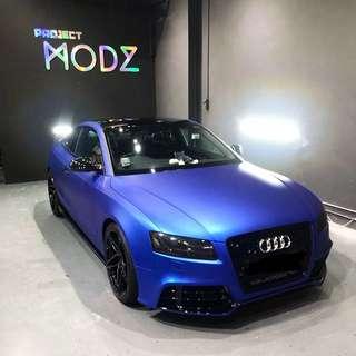 Matte Chrome Blue Full Car Wrap