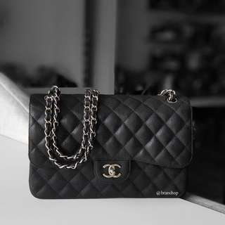 Authentic Chanel Black Caviar Jumbo Flap