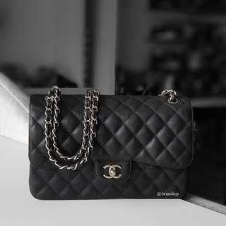 Authentic Chanel Black Caviar Jumbo Flap