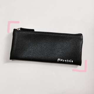 instock!! black pu pencil case