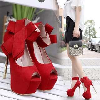 Ankle Bow Peep Toe Platform Heels