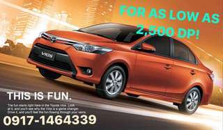 Brand New Toyota Vios for as low as 2,500 only!