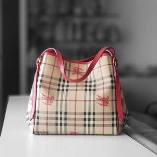 Authentic Burberry Red Haymarket Canterbury Tote