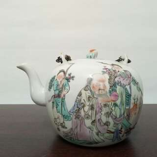Round shape teapot painted Longevity
