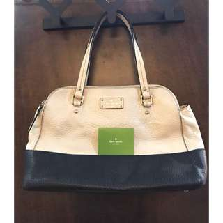 Kate Spade Leather Tote in Cream/Off White and Black