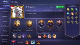 Mobile legends account legend rank with 25 skins