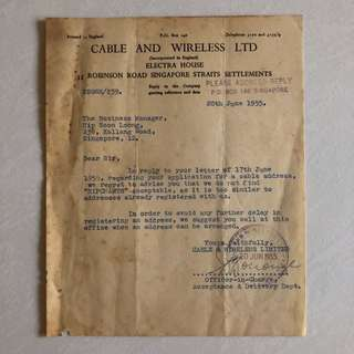 Vintage Old Document - old 1955 Application Rejection Letter by Cable and Wireless LTD , Singapore