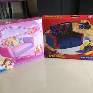 BN Disney Princess and Marvel Spider-Man inflatable flip out sofa bed