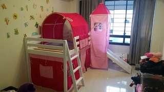 Children Bed Frame Loft with Slide