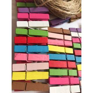WOODEN CLIPS COLOUR 100PCS