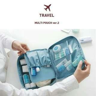 Tas kosmetik ver 2 / cosmetic travel bag / solid color multi pouch