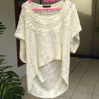 Pinenine Broken White Top / Blouse / Atasan / Baju Big Size / Bigsize