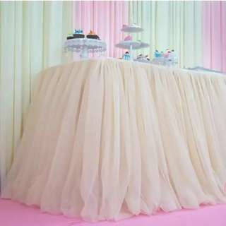 Champagne Tulle Table Skirting