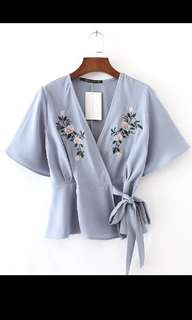 Floral Embroidery Overlay Top