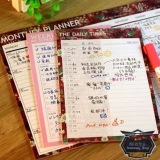 20 Sheets Single-sided Printing Daily/ Weekly/ Monthly Planner Memo Pad