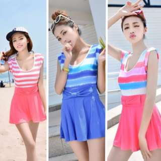 Summer Swimsuit Dress Sripe Ribbon
