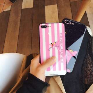 iPhone case 玻璃面硬殼 粉紅豹 Pink Panther 手機殼 全包軟邊