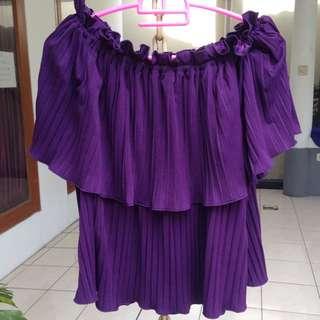 Premium Sabrina Plisket Top / Atasan / Blouse / Baju / Bigsize / Bigsize