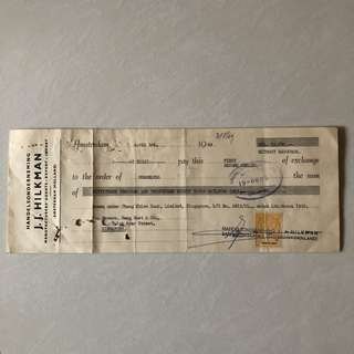Vintage Old Payment Receipt with Stamp received for Chung Khiaw Bank Ltd Head Office , Singapore dated in Year 1969