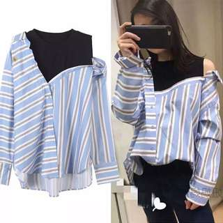 Loose fitting Women's Embroidery Bees Irregular Stripe Knit Off-Shoulder Shirt Lining