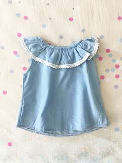 Ruffle shoulder girl top