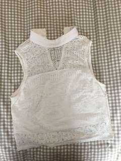 White Lace Fitted Top