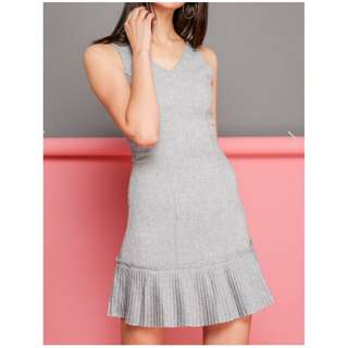 TSW FLORENCE TWEED PLEATED HEM DRESS IN GREY