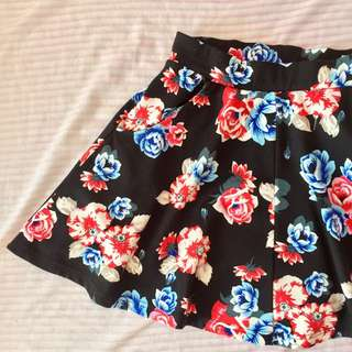 Cotton On black floral skirt