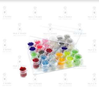 Clear Rectangle Acrylic Box with 36 Screw-Top Vials