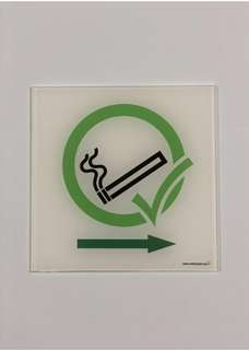 P021_Left_Right_ACR Smoking Area Acrylic Sign. Copyright 2018 www.safetysigns.sg. All Rights Reserved.