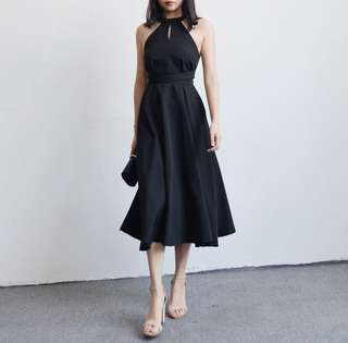 Halterneck Waist Enhancing Flare Dress