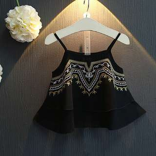 Baby Girl Kids Fashion Top - Tribal Style Chiffon Top (Black)