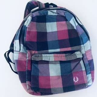 Inspired Fred Perry flannel pink blue purple bag pack