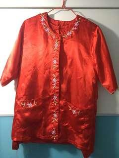 上頭紅睡衣連褲