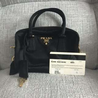 Prada Nero satin small sling bag