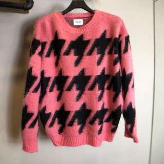 韓系 千鳥格 文青長袖針織毛衣 黑色粉紅色上衣